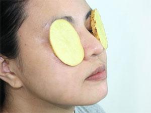 Маска из картофеля на глаза