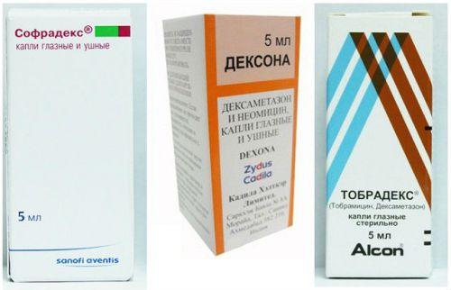 Комбинированные гормональные капли с антибиотиками
