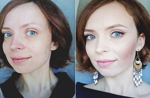 Лицо до нанесения макияжа и после