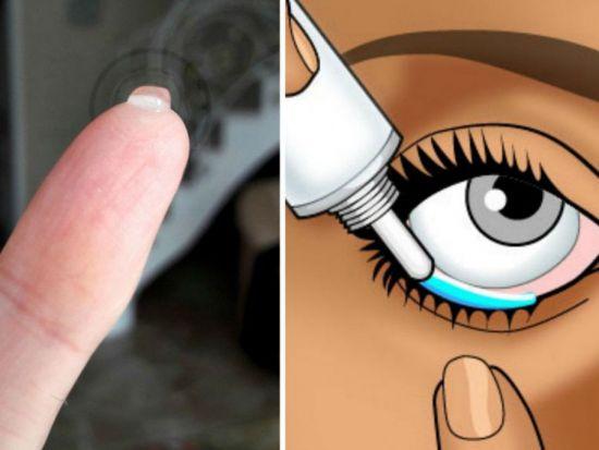 Заклаывание геля в глаз