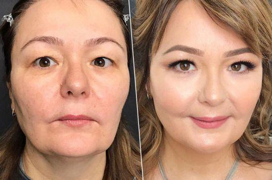 Возрастной макияж для нависших век
